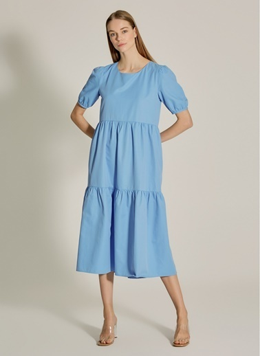 NGSTYLE Büzgülü Midi Poplin Elbise Mavi